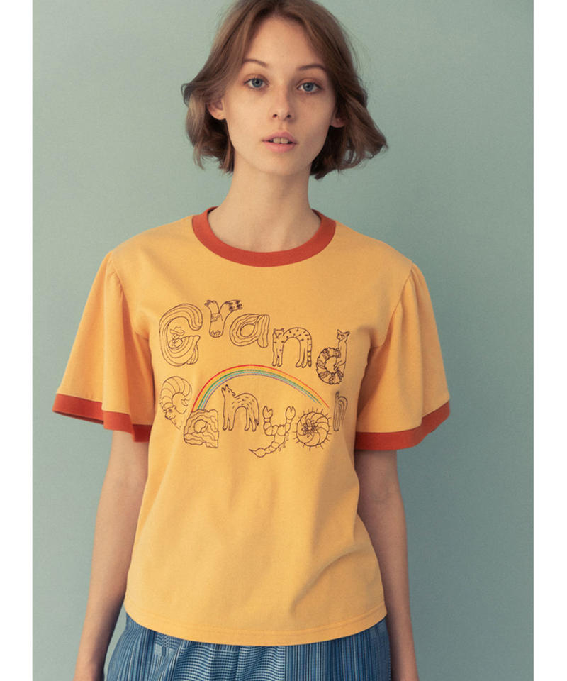 グランドキャニオンの生き物ロゴ刺繍Tシャツ (peach yellow)