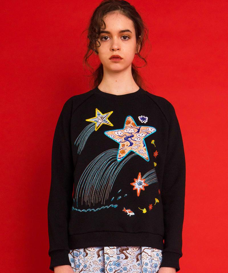 流れ星のアップリケ刺繍スウェット (black)