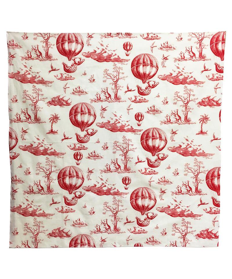 切手シートのプリント風呂敷  (red)