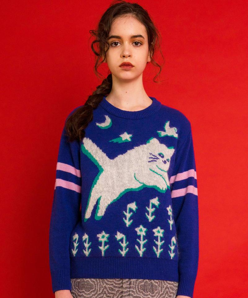 飛ぶネコのセーター  (ultramarine)