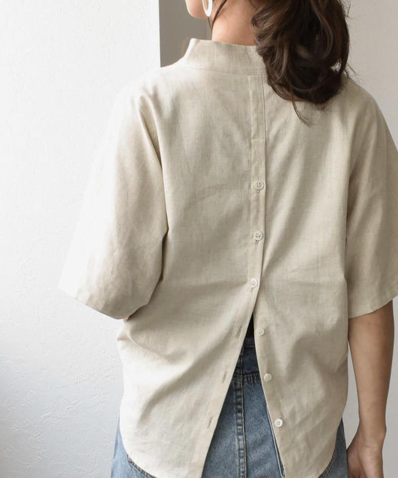 6月下旬 予約販売 mh-tops-04003 日本製 コットンリネン 半袖 バックボタンスキッパーシャツ エクリュ