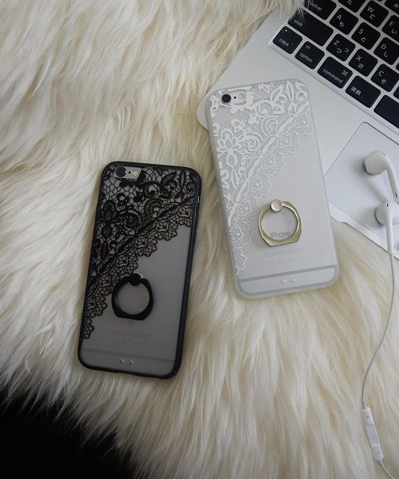 mb-iphone-02244 レースフラワー柄 バンカーリング付き 半透明 iPhoneケース