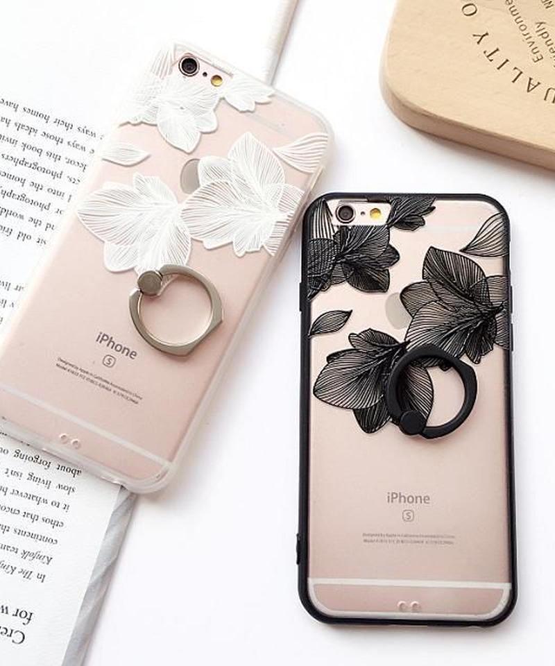 mb-iphone-02230  フラワー柄 バンカーリング付き 半透明 iPhoneケース