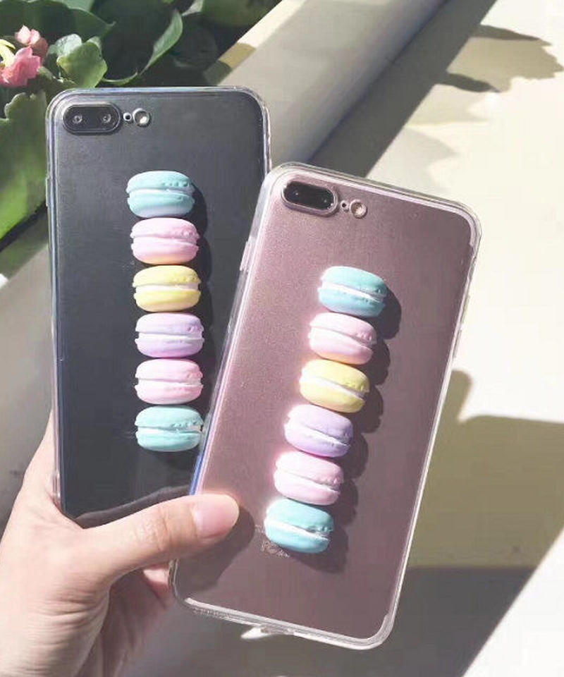 mb-iphone-02343 マカロン カラフル クリア iPhoneケース