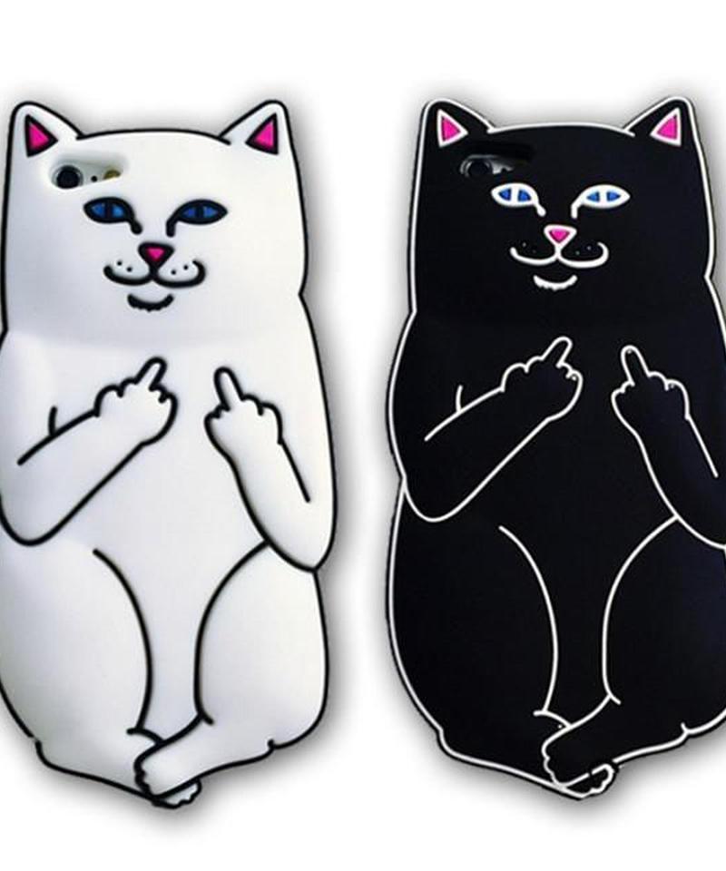mb-iphone-02048 キャット 猫 ホワイト ブラック iPhoneケース