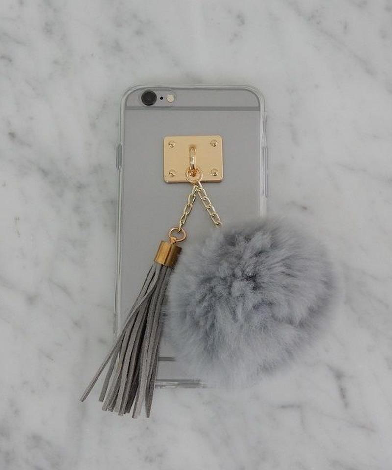 mb-ot-02621 ラビットファー  ボンボン&タッセル付き グレーポンポン  クリア iphoneケース