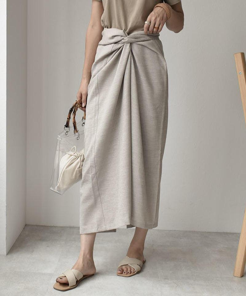 7月中旬~7月下旬入荷分 予約販売 bottoms-04002 日本製 リネンライク カシュクールスカート ライトグレージュ 別途ペチコート付き
