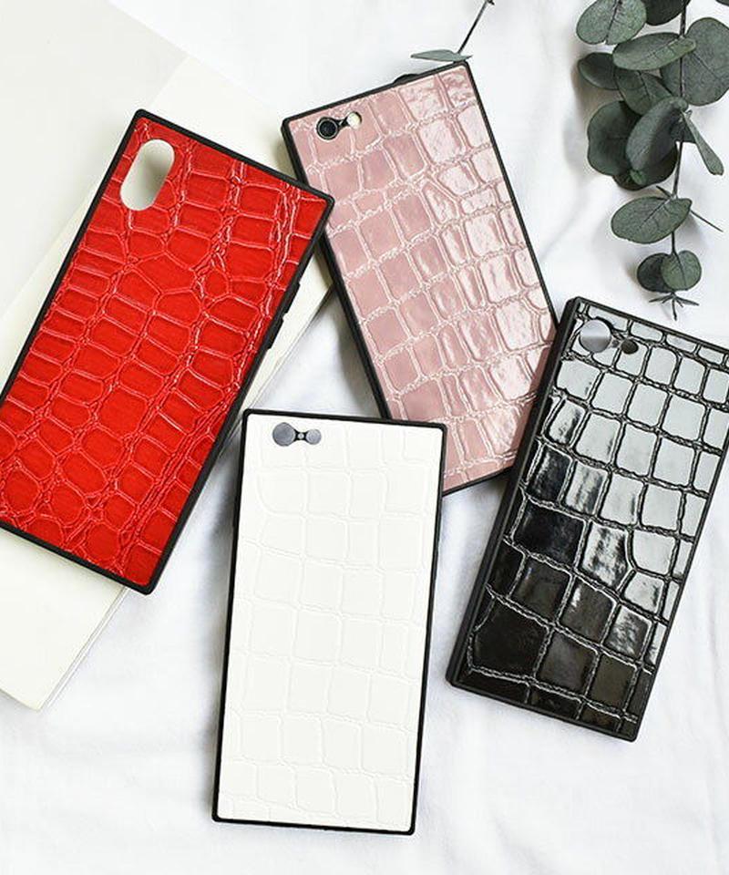 mb-iphone-02474  スクエアバンパー クロコダイル柄 iPhoneケース