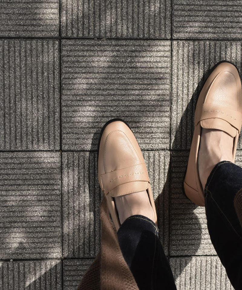shoes-02024  フェイクレザー ローファー ベージュ ブラック