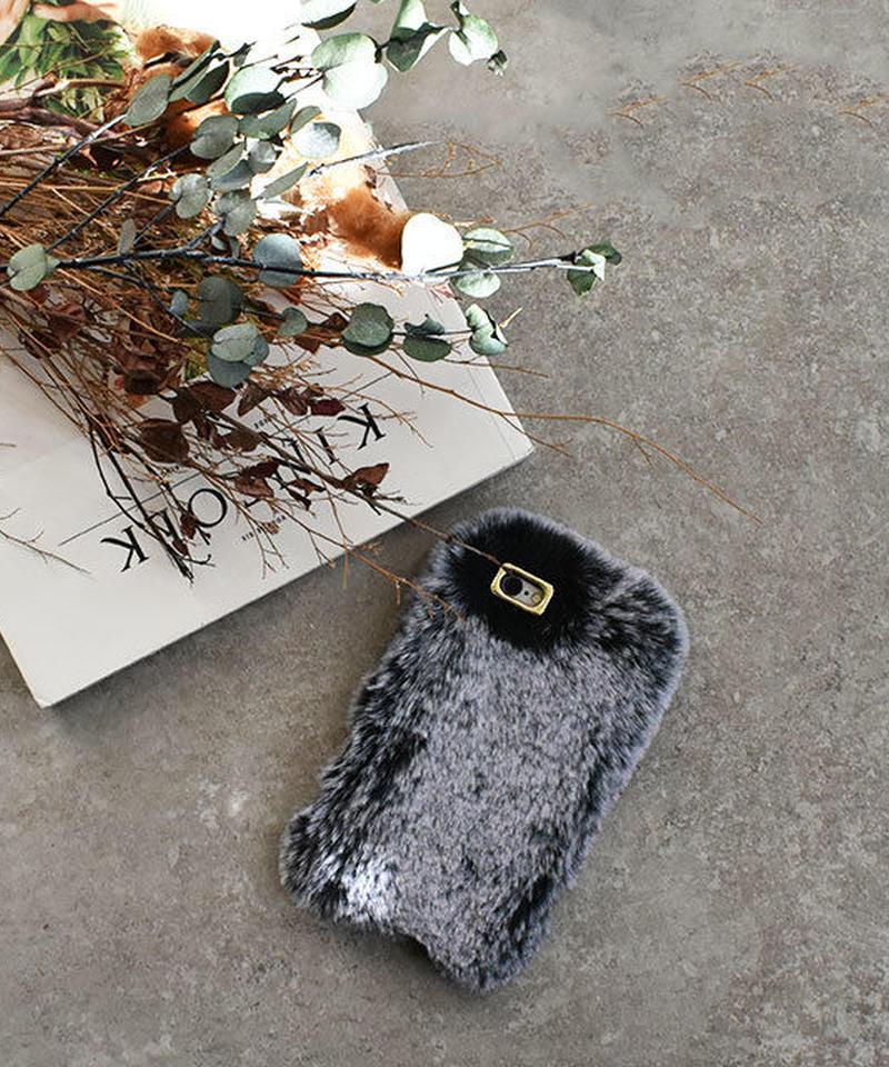 mb-iphone-02516 ラビットファー もこもこ グレー iPhoneケース