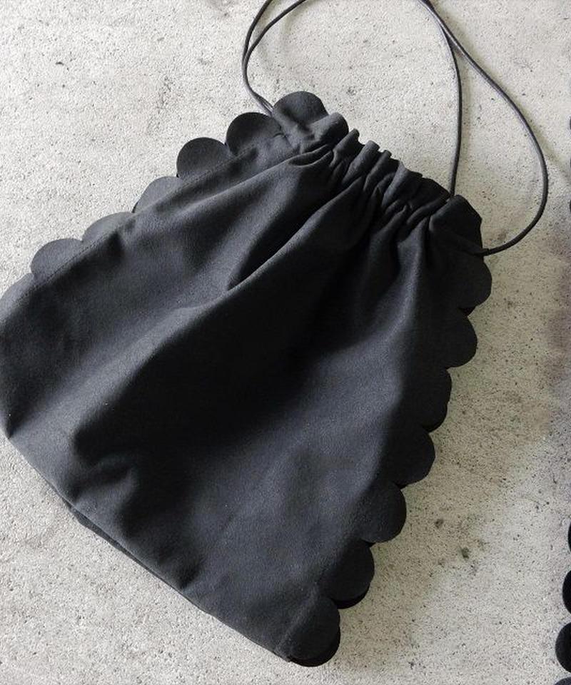 mb-bag2-02217  ブラック  フェイクスエード スカラップ巾着バッグ 日本製