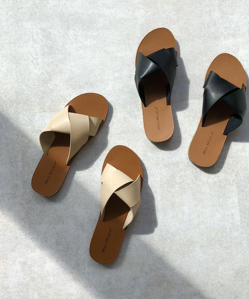 shoes-02022  ノットベルト フラットサンダル