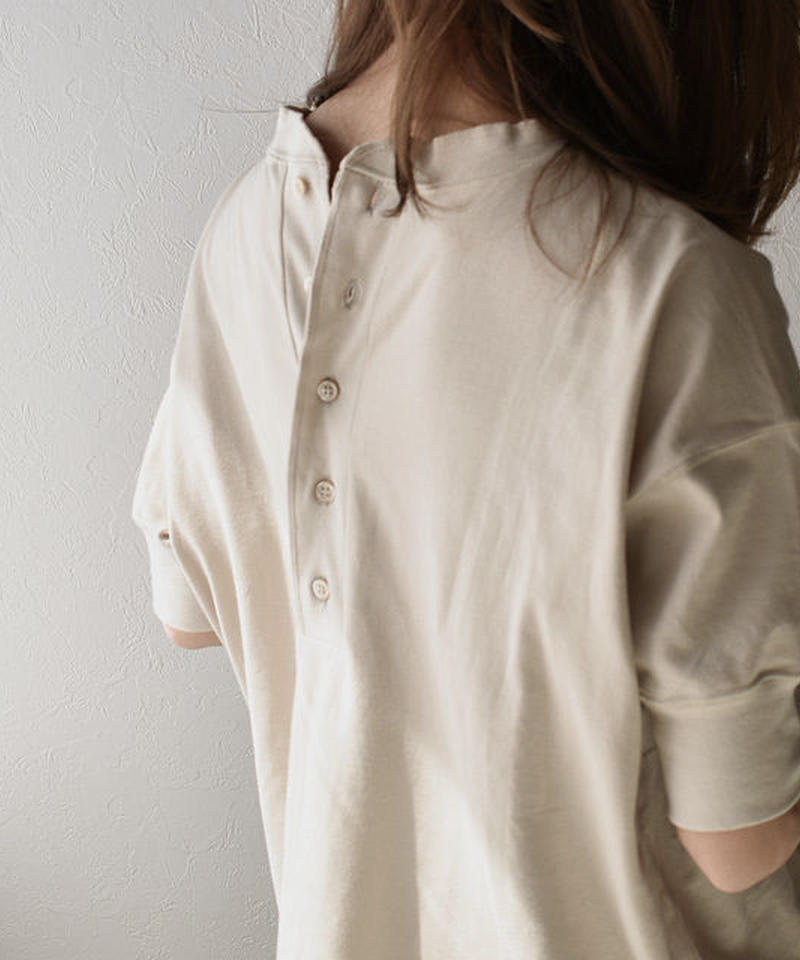5月中旬~5月下旬入荷分 予約販売 tops-05002 日本製 半袖 バックヘンリーネック Tシャツ