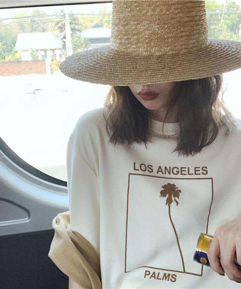 7月中旬~7月下旬入荷分 予約販売 nh-tops-02104 パームツリー オーバーサイズTシャツ クリーム