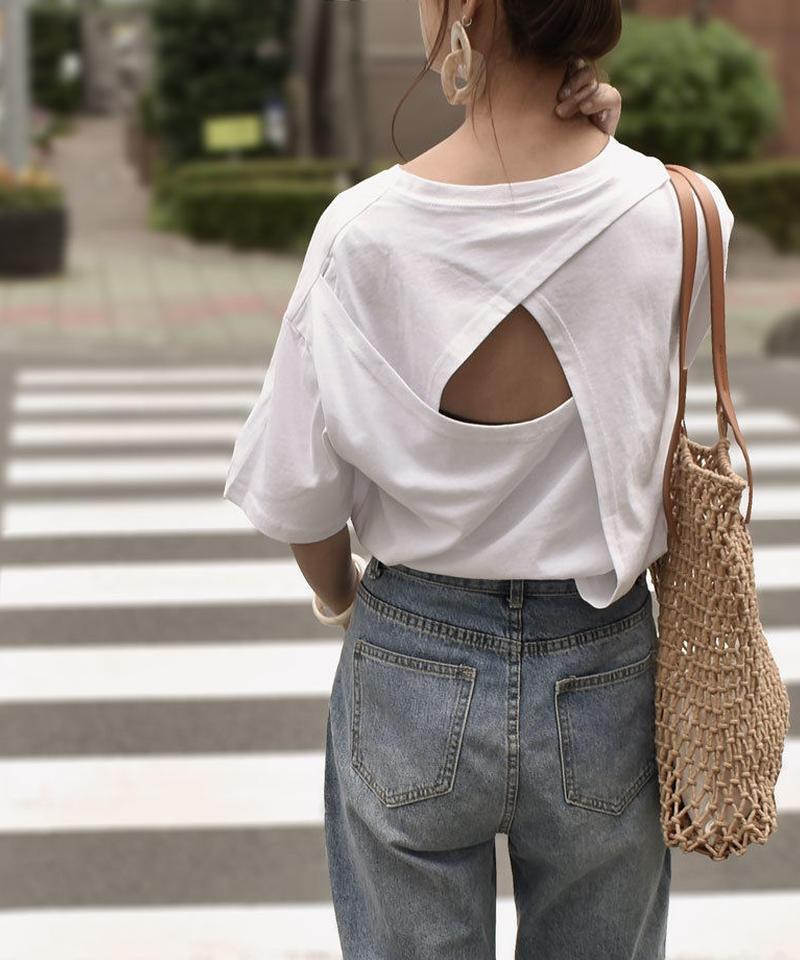 nh-tops-02113 バックオープン 変形Tシャツ ホワイト