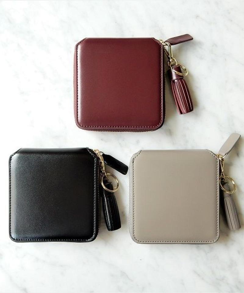 wallet-02037 本革レザー タッセル付き ミニ財布 小銭入れ付き 二つ折り ミニウォレット