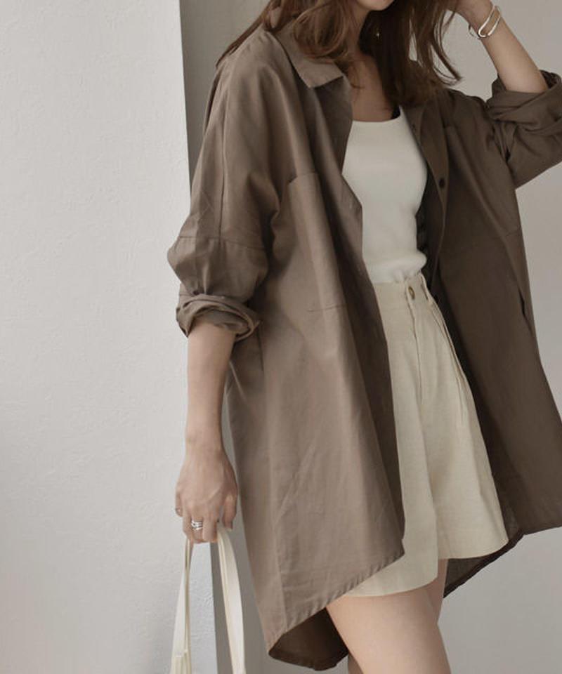 6月下旬~7月上旬入荷分 予約販売 nh-tops-02092 リネンライクオーバーサイズシャツ ブラウン