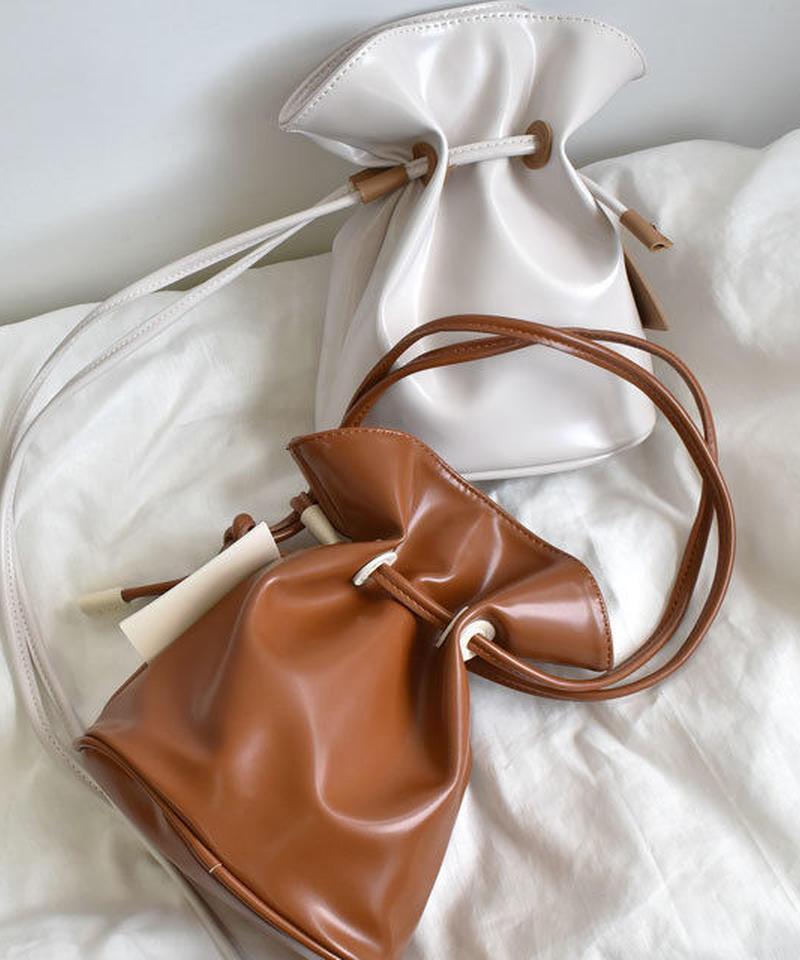 bag2-02374 フェイクレザー 2way巾着バッグ ショルダーバッグ ハンドバッグ