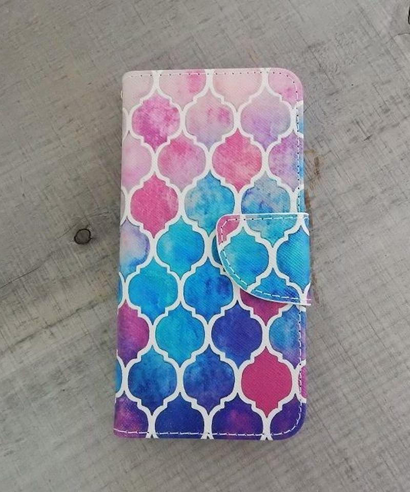 mb-iphone-02204 手帳型 モロッカン柄 モザイクタイル モロッコタイル カラフル カード収納付き iPhoneケース