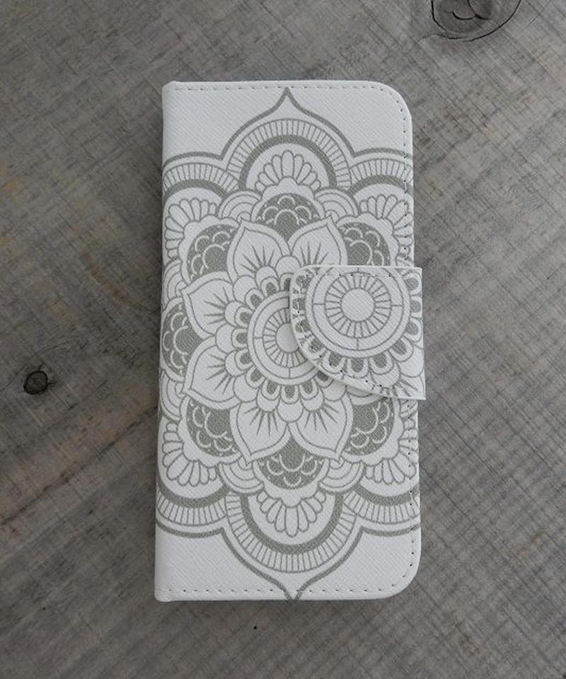 mb-iphone-02206 手帳型 エスニック柄ホワイト カード収納付き iPhoneケース iPhone6ケース