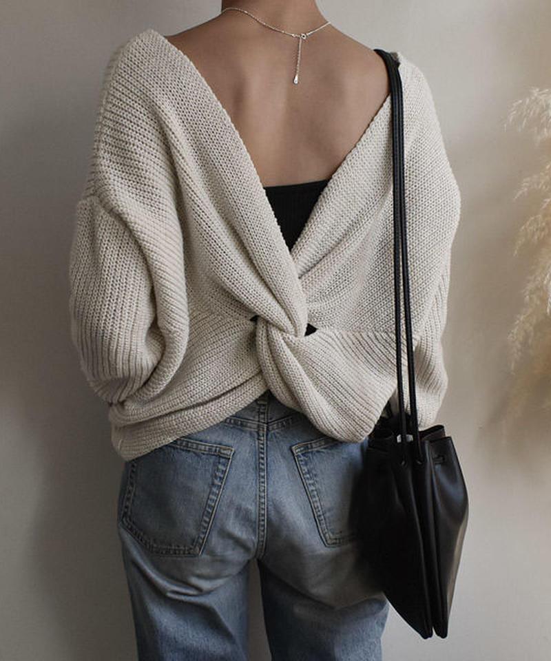 knit-02015 バッククロスニット オフホワイト ライトグレー