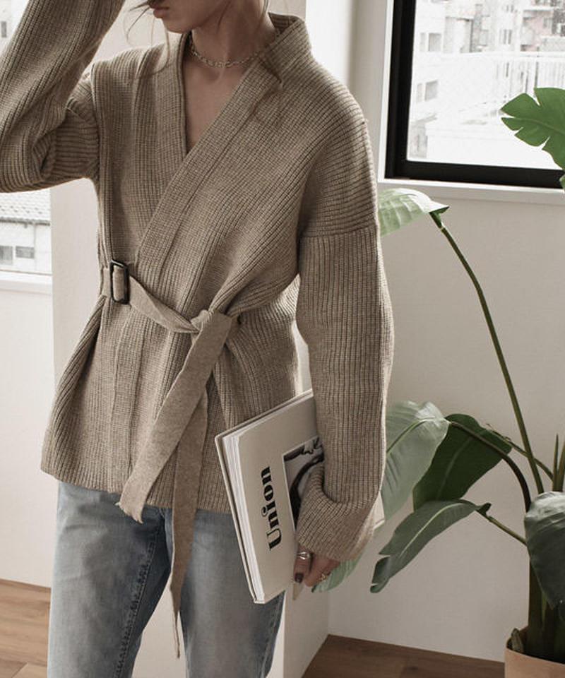 knit-02009 ウエストベルト付き ニットカシュクール カーディガン モカベージュ