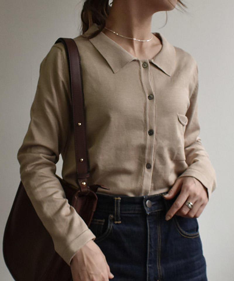 mb-tops-02024  ニットポロシャツ ベージュ ブラウン