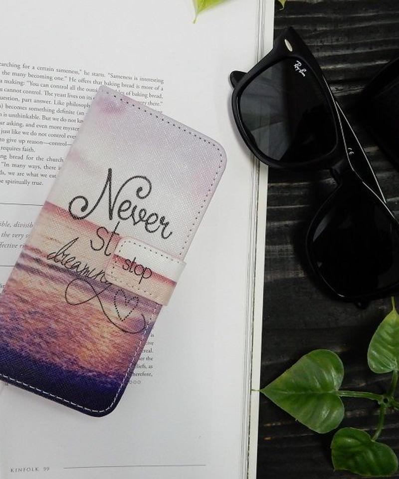 mb-iphone-02122 手帳型 サンセットビーチ カード収納付き iPhoneケース