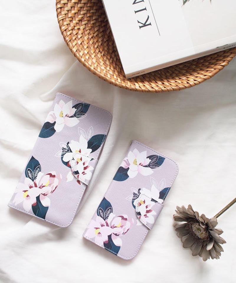 mb-iphone-02420 手帳型 ホワイトフラワー柄 カード収納付き iPhoneケース