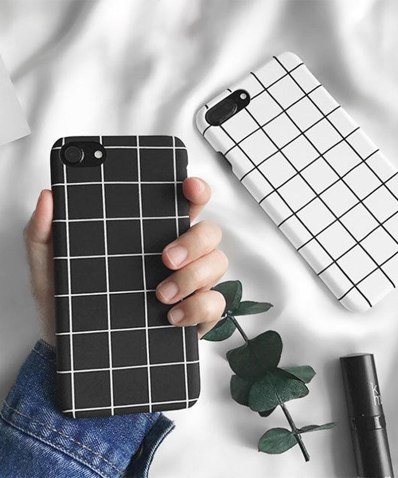 mb-iphone-02022 モノクロ グラフチェック柄 ブラック ホワイト 黒白 モノトーン iPhoneケース