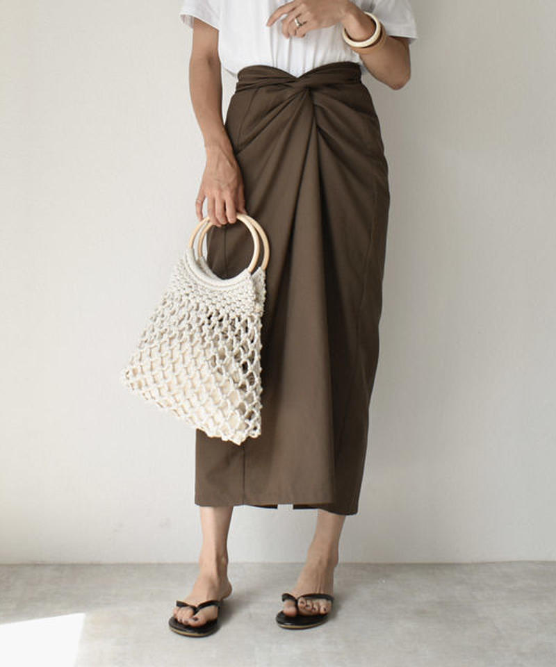 6月下旬~7月上旬入荷分 予約販売 bottoms-02025 カシュクールスカート カーキブラウン