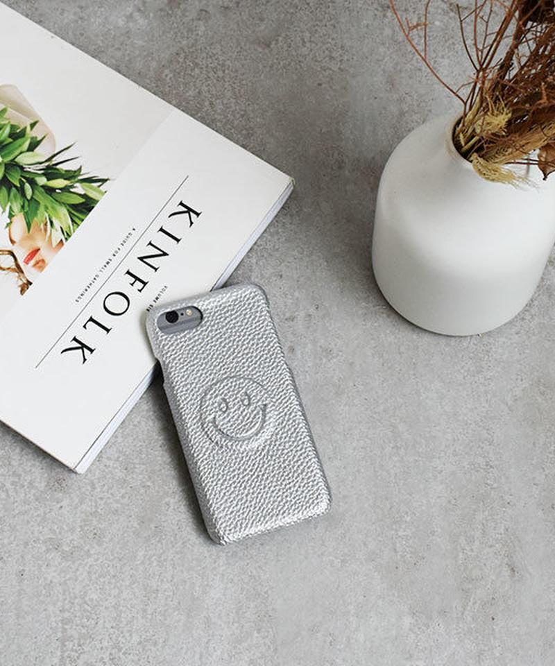 mb-iphone-02533 シルバー フェイクレザー シンプルニコちゃん iPhoneケース
