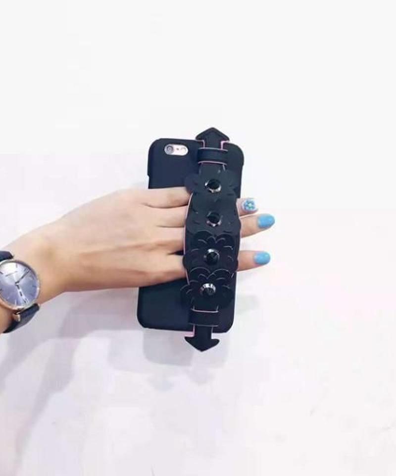 mb-iphone-02338 ブラック フラワーベルト付き 落下防止 iPhoneケース