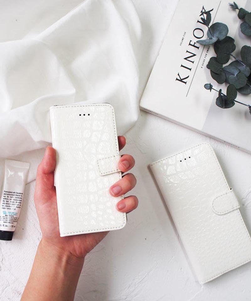 mb-iphone-02421 手帳型 ホワイト クロコダイル柄 カード収納付き iPhoneケース
