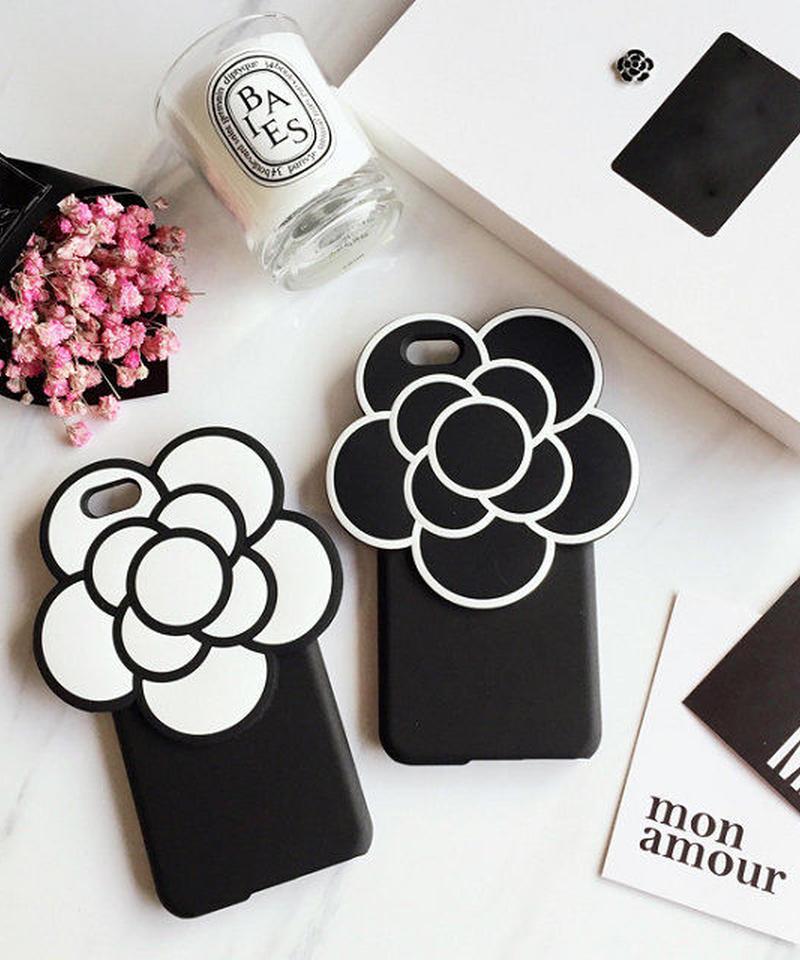 mb-iphone-02241 ビッグフラワー ブラック ホワイト iPhoneケース