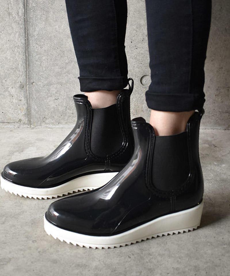 rainshoes-02003 サイドゴア  プラットフォームブーツ レインブーツ レインシューズ ブラック