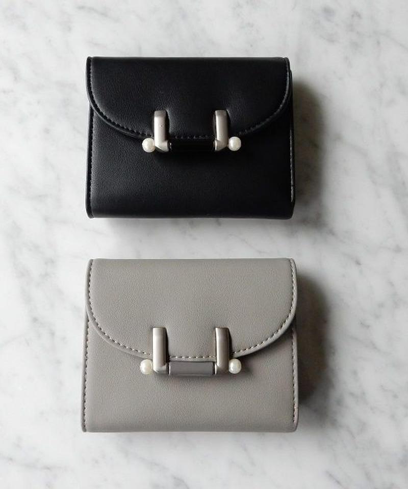 wallet-02002 パール付留め具 ミニ財布 小銭入れ付き 三つ折り ミニウォレット