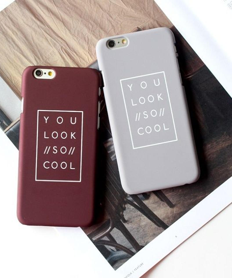 mb-iphone-02017 YOU LOOK SO COOL マット ボルドー グレー  iPhoneケース