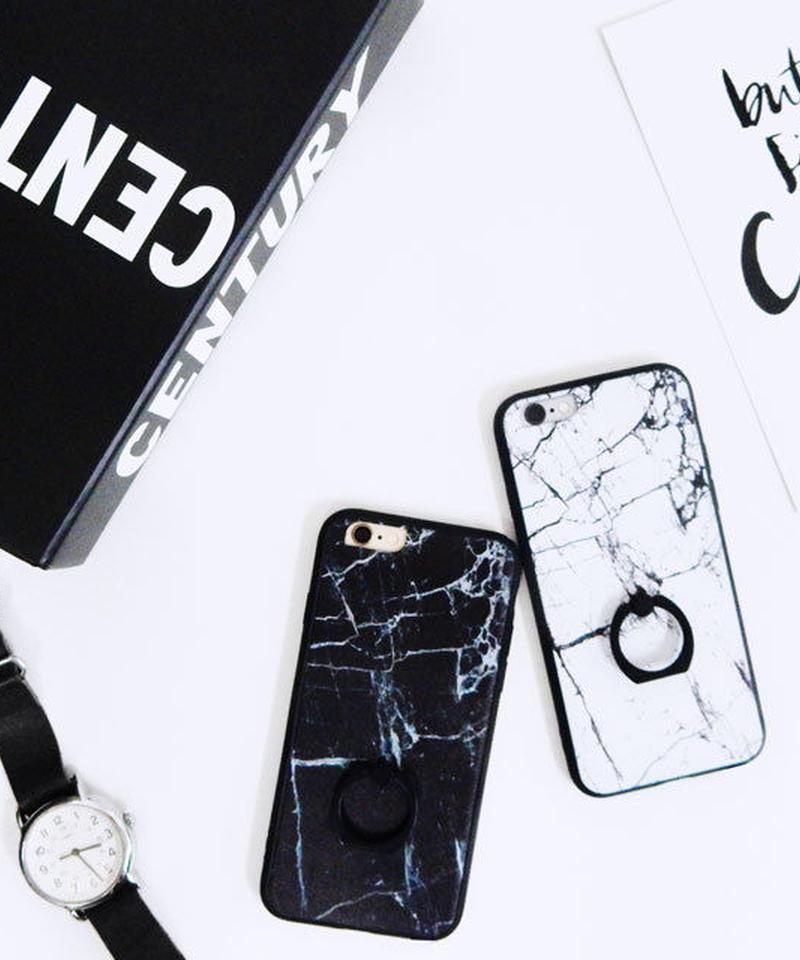 mb-iphone-02228  タイプ2  ブラックバンパー&バンカーリング付き 大理石 天然石  iPhoneケース