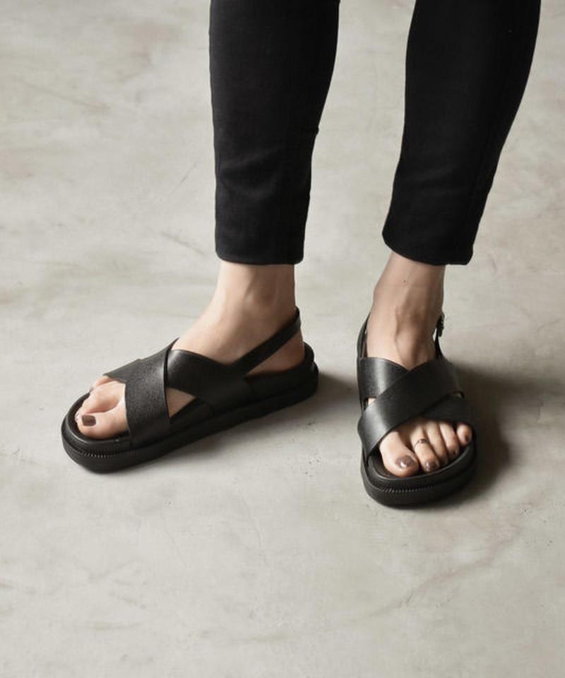 shoes-02072 バックベルトクロスサンダル ブラック