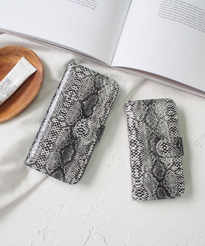 mb-iphone-02422 手帳型 ブラックパイソン柄 カード収納付き iPhoneケース