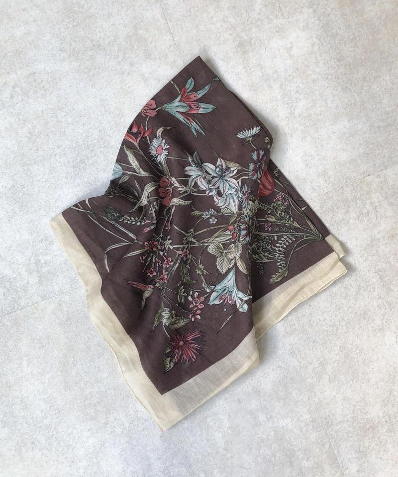 mb-scarf-02004 リネン混 フラワー柄スカーフ ダークブラウン