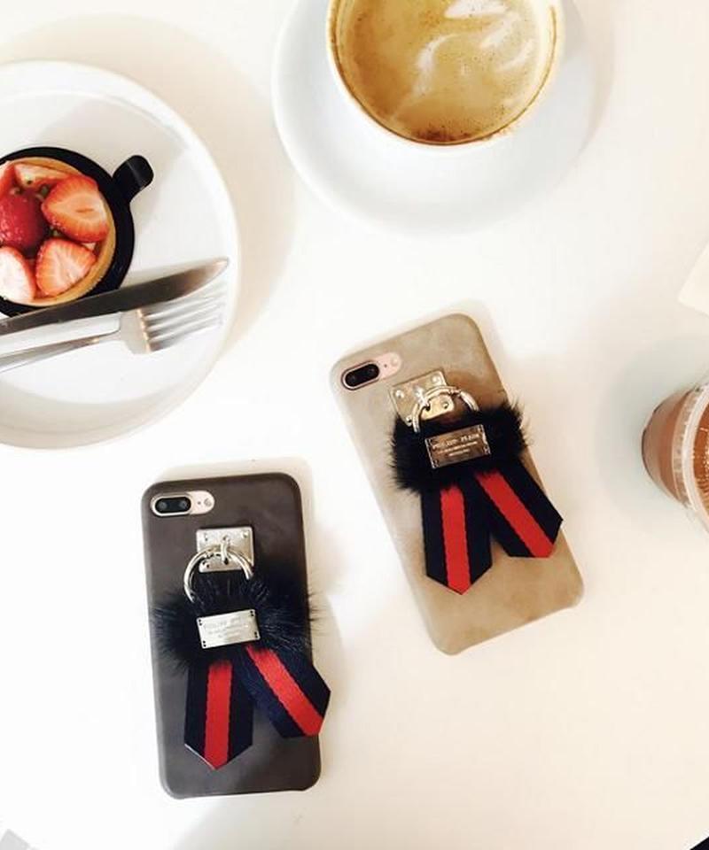 mb-iphone-02387 ファー×リボン iPhoneケース