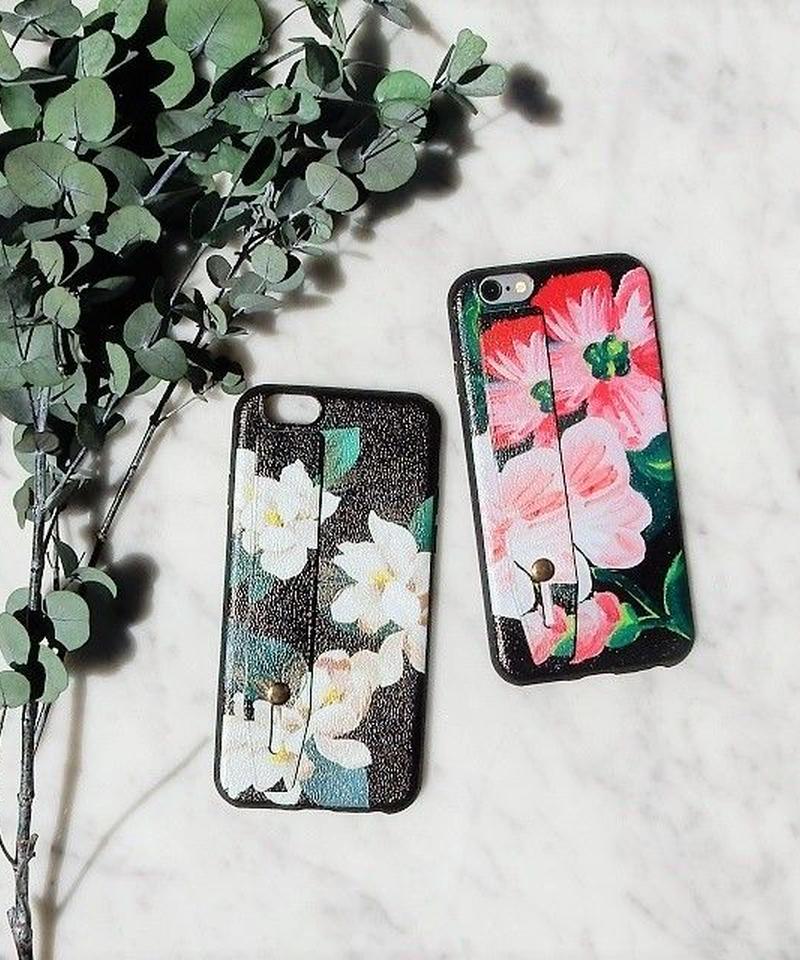 mb-iphone-02327  ベルト付き お花柄 フラワー柄 落下防止 iPhoneケース