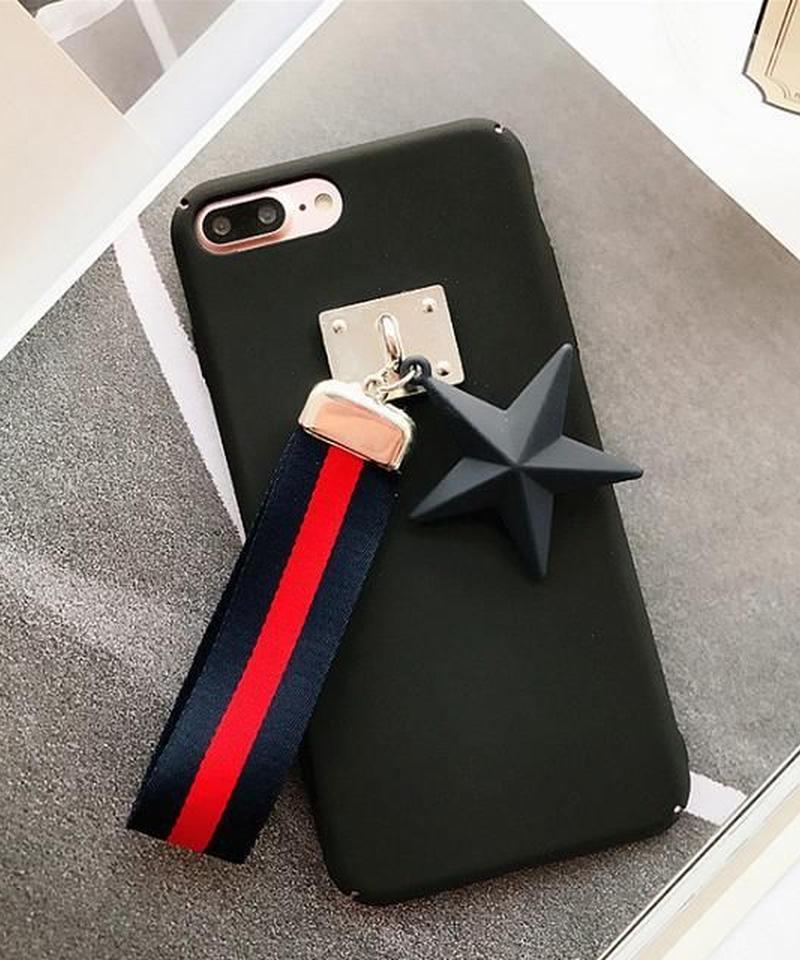 mb-iphone-02351 ブラック スター&ストラップ付き iPhoneケース