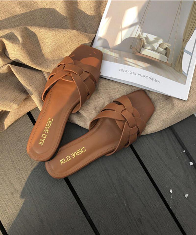 shoes-02068 編み込みサンダル グレージュ ブラウン
