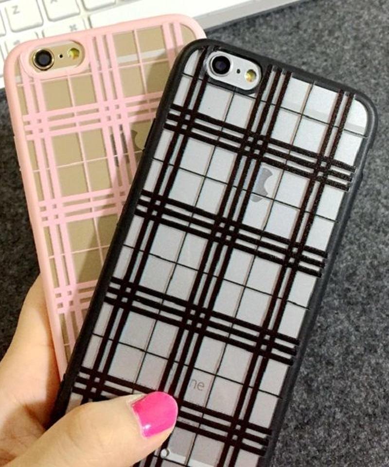 mb-iphone-02023  タータンチェック柄 ブラック ピンク  iPhoneケース