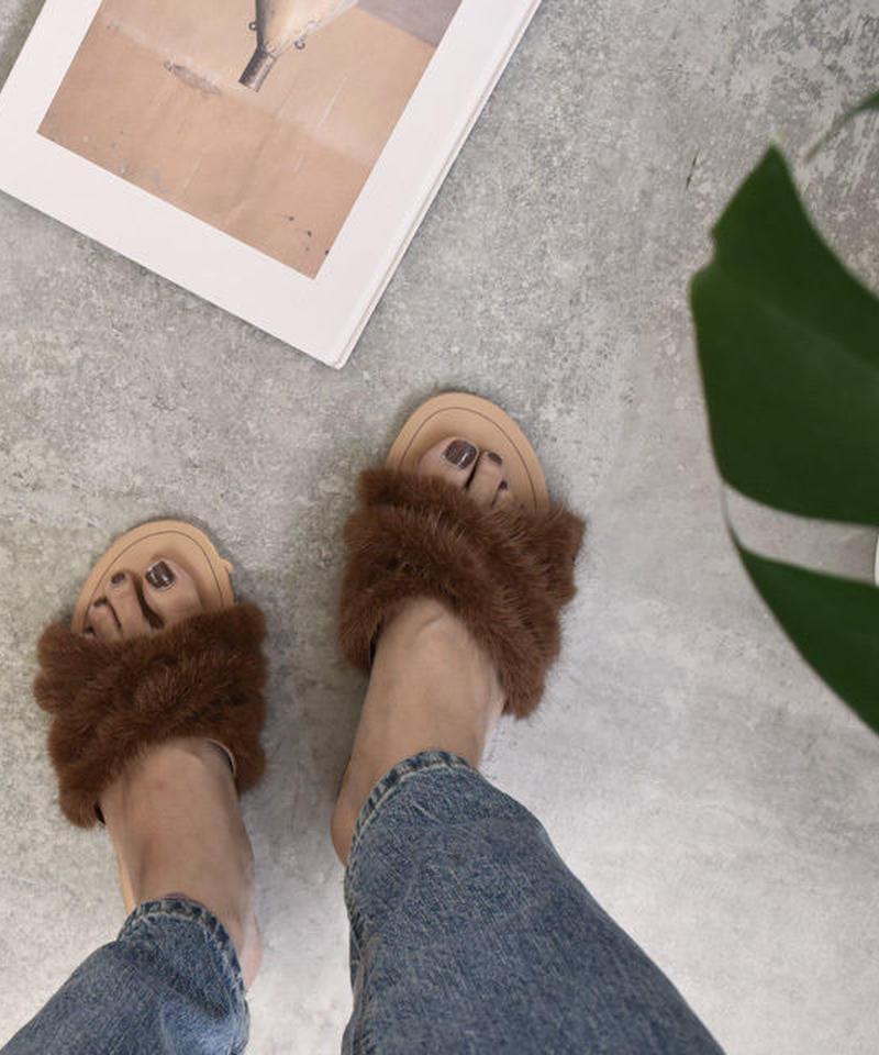 shoes-02020  ミンクファー クロスフラットサンダル