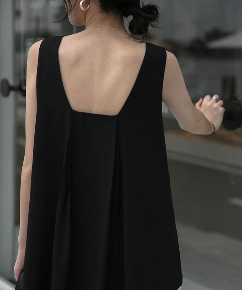 7月上旬~7月中旬入荷分 予約販売 nh-tops-02102 スクエアネック バックフレアノースリーブトップス ホワイト ブラック ベージュ