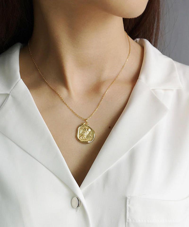mb-necklace2-02007 SV925 ベンドゴールドコインネックレス